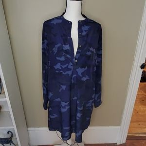 GAp blue camo shirt dress pockets